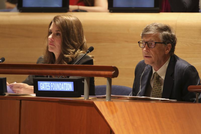 FILE - Bill and Melinda Gates attend the Millennium Development Goals event, Wednesday, Sept. 25, 2013 at U.N. headquarters.
