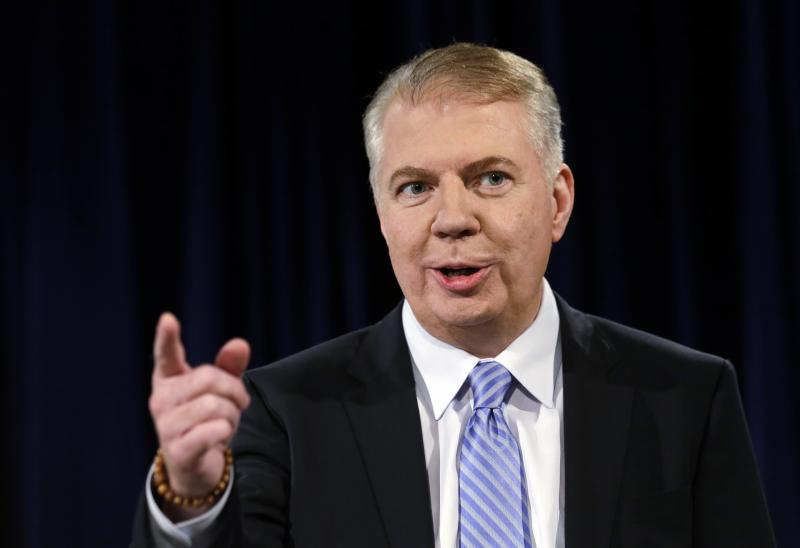 In this photo taken Oct. 9, 2013, Sen. Ed Murray speaks during a debate in Seattle with Seattle Mayor Mike McGinn in their race for mayor.