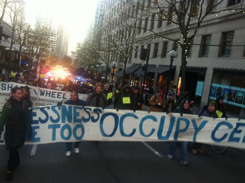 Protesters marched to Seattle City Hall on Wednesday, Nov. 20, 2013.