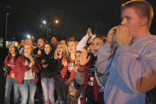 Hoquiam students cheer as they prepare to learn who's won this year's Food Ball competition.