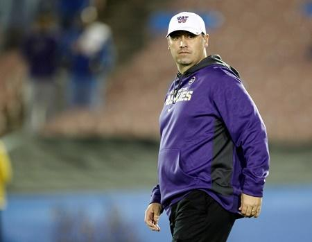 Washington head coach Steve Sarkisian on the sidelines ready to play against UCLA Friday, Nov. 15, 2013, in Pasadena, Calif.