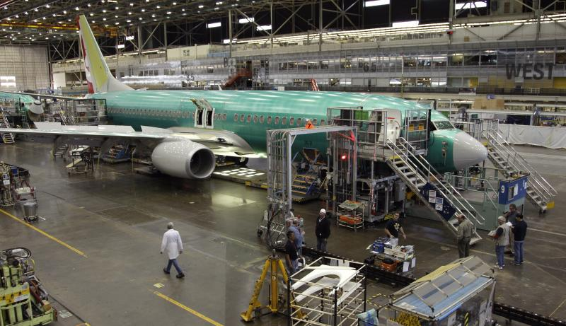 FILE - This May 17, 2011 file photo, shows a Boeing 737 iat the Boeing Co. assembly facility in Renton, Wash.