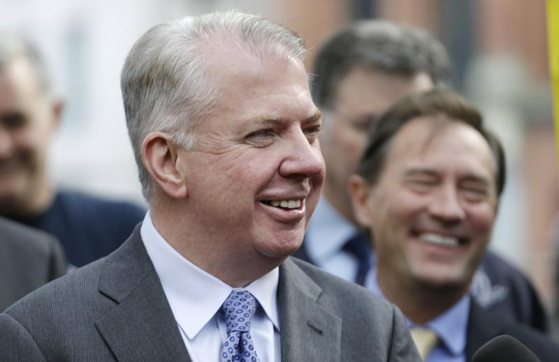 FILE - Mayoral candidate state Sen. Ed Murray smiles during a news conference Monday, Nov. 4, 2013, in Seattle.