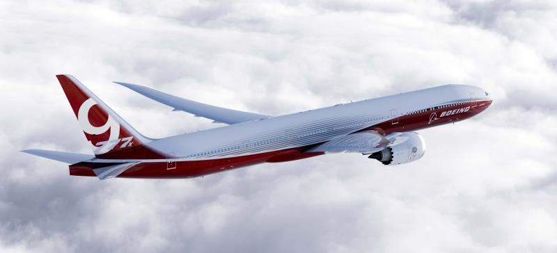 In this artist's concept provided by The Boeing Co. is the 777-9X, the largest of the aerospace company's new family of 777X jetliners.