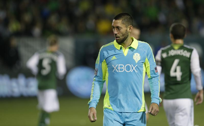 Clint Dempsey walks off the pitch after the Portland Timbers beat the Sounders 3-2 in the second game of the Western Conf. semifinals Nov. 7 in Portland.