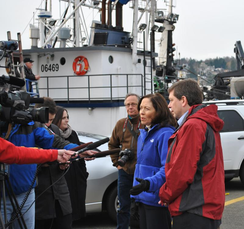 U.S. Senators Maria Cantwell, D-Wash., and Mark Begich, D-Alaska, toured Seattle's Fishermen's Terminal.