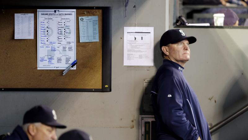 Mariners manager Eric Wedge looks out from the dugout during a baseball game against the Oakland Athletics Sunday, Sept. 29, 2013, in Seattle. Wedge announced days earlier that he would not be returning for the next season.