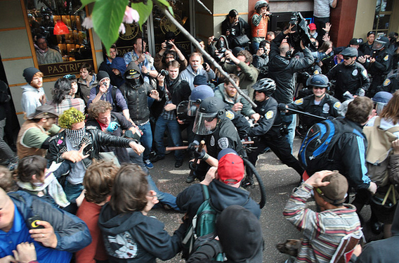 Protesters are seen clashing with police on May Day, 2012.