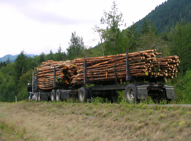 A logging truck is seen near Port Angeles, Wash.