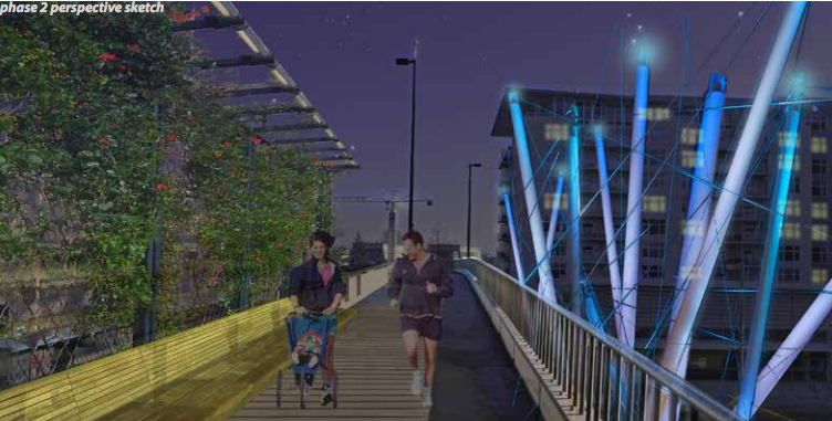 An artist rendering of the planned design for Tacoma's Prairie Line Trail.