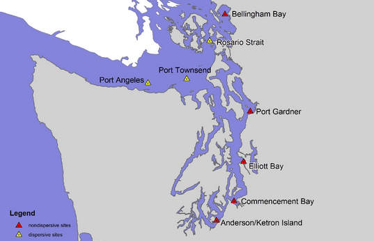 This map shows disposal sites around Puget Sound.