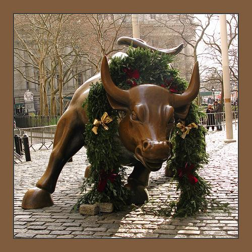 The Wall Street bull is ready for the holidays