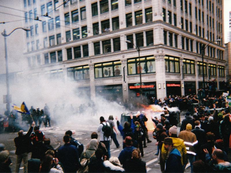 November 1999 photo of WTO protests in Seattle.