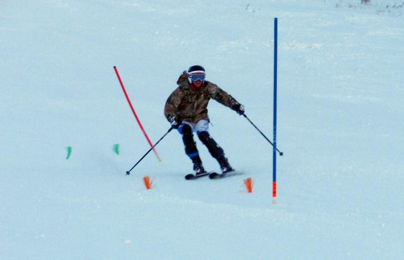 Jasmine Campbell practices slalom racing on her home mountain, Sun Valley's Baldy.
