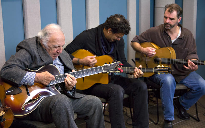 Bucky Pizzarelli with Pearl Django guitarists, Troy Chapman (center) and Ryan Hoffman.
