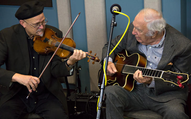 Bucky Pizzarelli (right) with Pearl Django's Michael Gray in the KPLU studios.