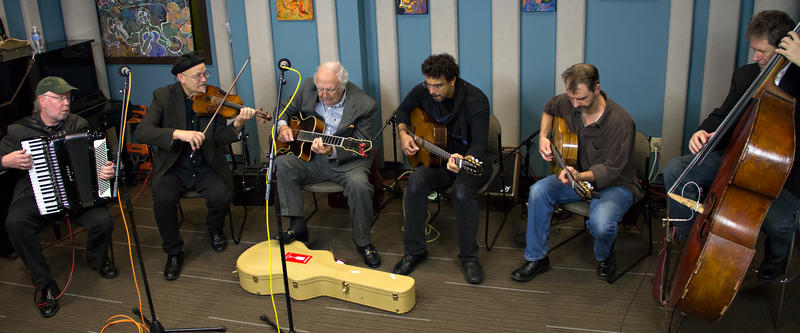 Bucky Pizzarelli performing live with Northwest gypsy jazz band, Pearl Django in the KPLU studios