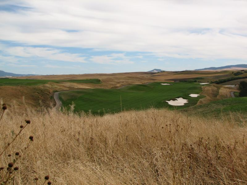 File - Wheat fields surround the new Palouse Ridge Golf Club in Pullman, Wash., on Aug. 22, 2008.