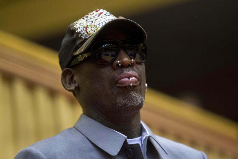 Dennis Rodman, looks out at the court at the end of an exhibition basketball game with U.S. and North Korean players at an indoor stadium in Pyongyang, North Korea on Wednesday, Jan. 8, 2014.