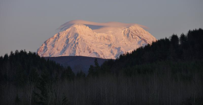 FILE  - This Jan. 8, 2012 file photo shows Mount Rainier taking on a rosy glow near sunset as viewed from Eatonville, Wash.