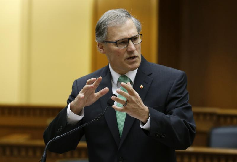 Washington Gov. Jay Inslee speaks about the upcoming legislative session, Thursday, Jan. 9, 2014, at the AP Legislative Preview in Olympia, Wash.