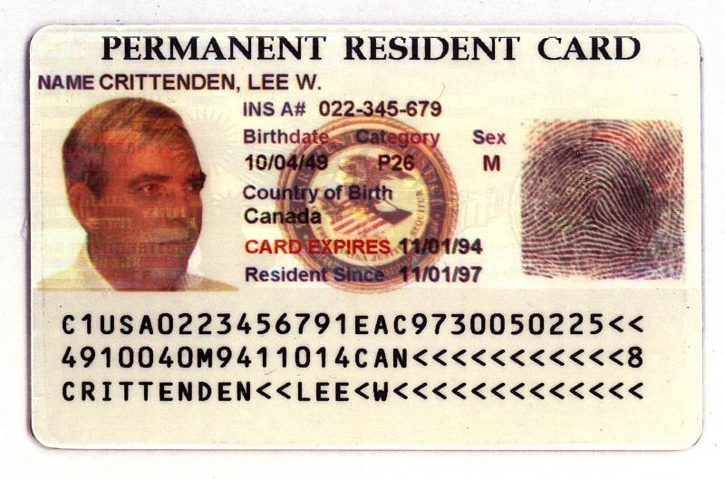 "An example of the new ""Green Card"" issued by the Immigration and Naturalization Service is seen in an undated handout photo."