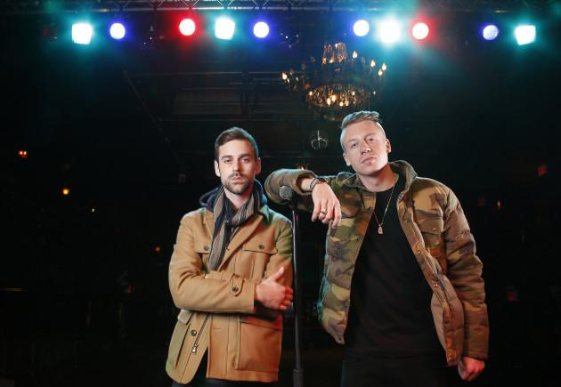 FILE - In this Tuesday, Nov. 20, 2012 file photo, American musician Ben Haggerty, better known by his stage name Macklemore, right, and his producer Ryan Lewis pose for a portrait, at Irving Plaza in New York.