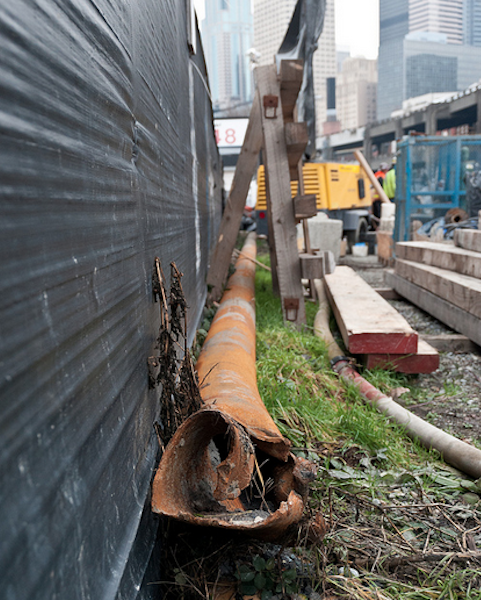 The steel pipe struck by the SR 99 tunneling machine is seen. The 57-foot-long section of steel pipe was pulled from the ground after it was struck by Bertha.