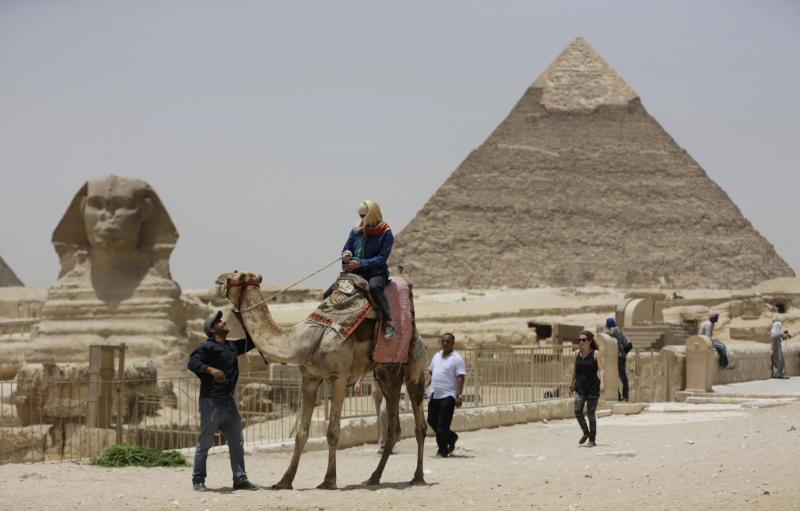 The Giza pyramids, one of Egypt's tourist destinations.