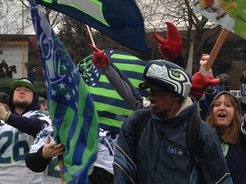 Seahawks fans gathered for a rally at the Seattle Center.