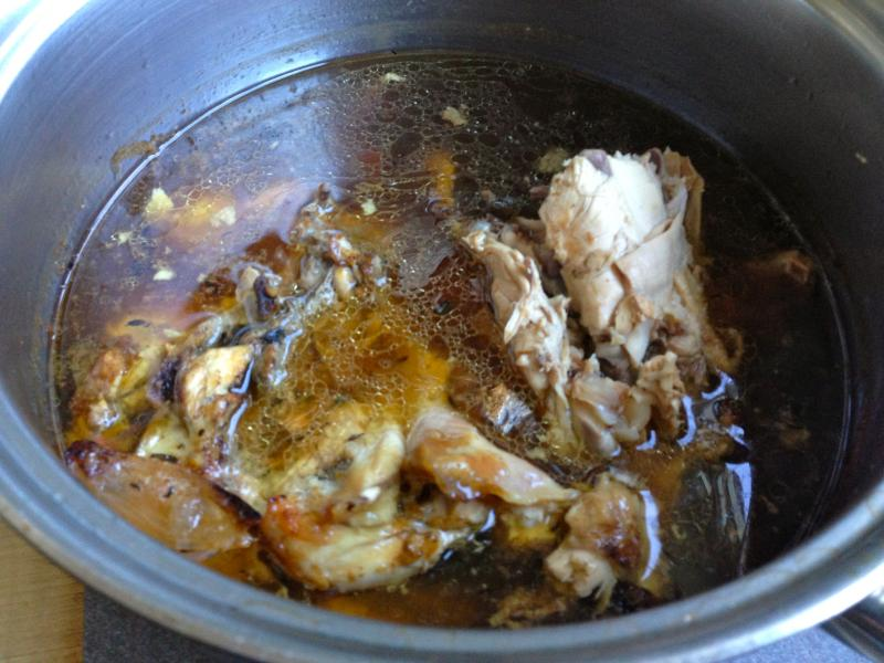 Nancy's roast chicken leftovers simmering into a rich chicken stock