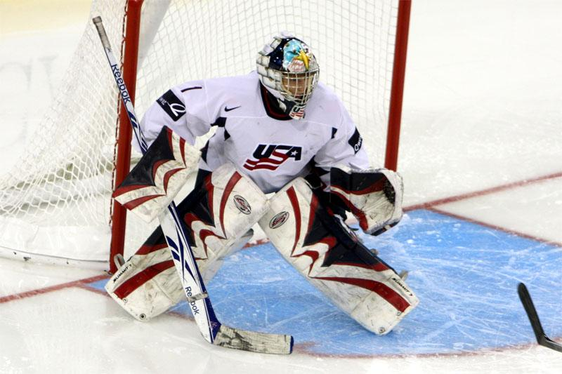 Team USA goaltender Molly Schaus is seen in action.