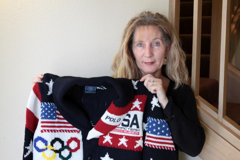 Woolgrower Jeanne with the 2014 U.S. Olympic parade sweater.