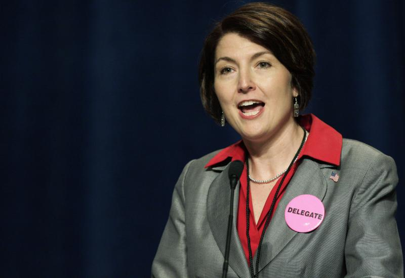 FILE - Rep. Cathy McMorris Rodgers, R-Wash., speaks at the Washington state Republican party convention, Friday, May 30, 2008, in Spokane, Wash.