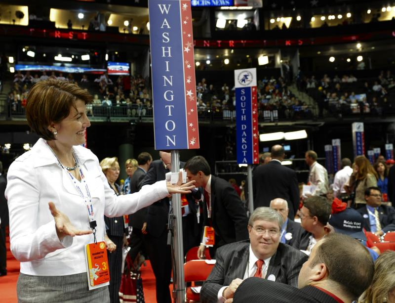 U.S. Rep. Cathy McMorris Rodgers, R-Wash., visits the Washington delegation on the floor of the Republican National Convention in St. Paul, Minn., Wednesday, Sept. 3, 2008.