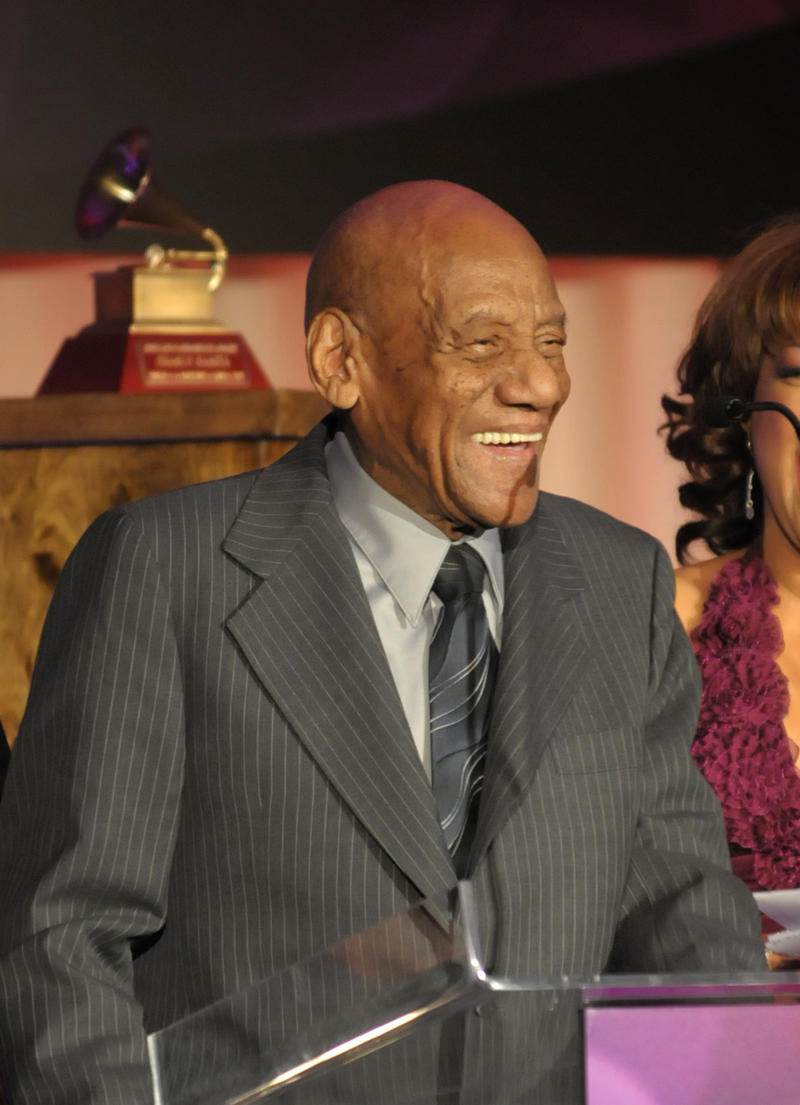In this photo provided by the Las Vegas News Bureau, Candido Camero receives a Latin Recording Academy Lifetime Achievement Award at the Four Seasons Hotel in Las Vegas during Latin Grammy week, Wednesday, Nov. 4, 2009.