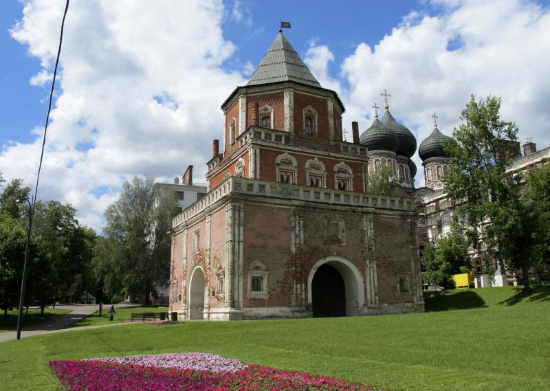 This June 4, 2012 photo shows the Mostovaya Bashnya tower which once housed archers guarding the approach to the Czar's Country Estate on Silver Island in northern Moscow.