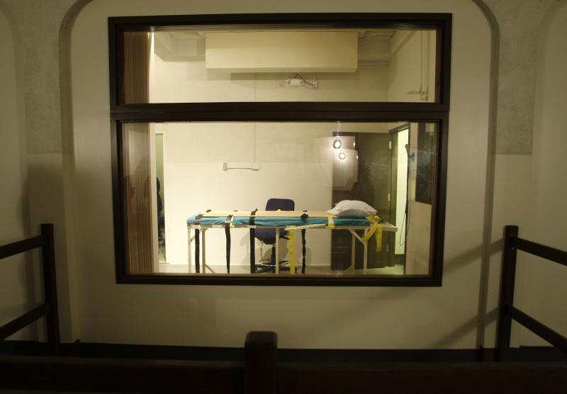 FILE - In this Nov. 20, 2008, file photo, the execution chamber at the Washington State Penitentiary is shown as viewed from the witness gallery, in Walla Walla, Wash.