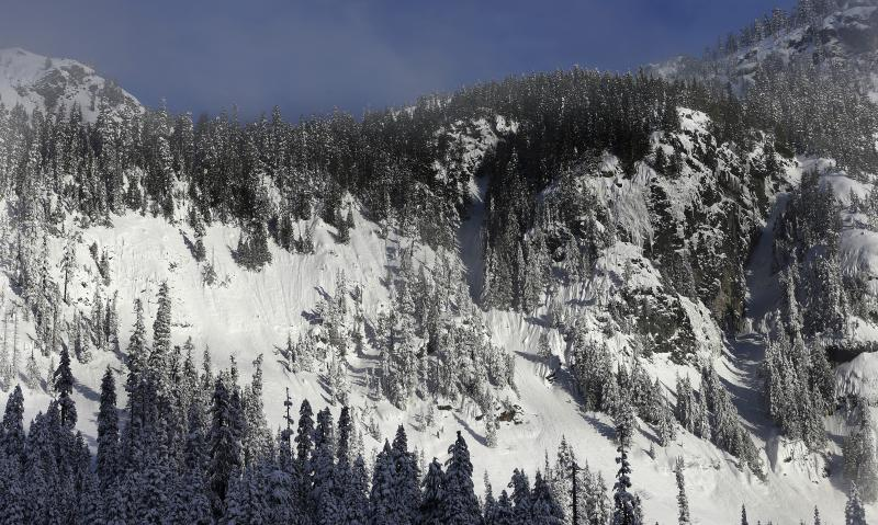 In this Jan. 4, 2013 photo, evidence of sliding snow is seen in steep terrain near a ski area at Snoqualmie Pass in Washington state.