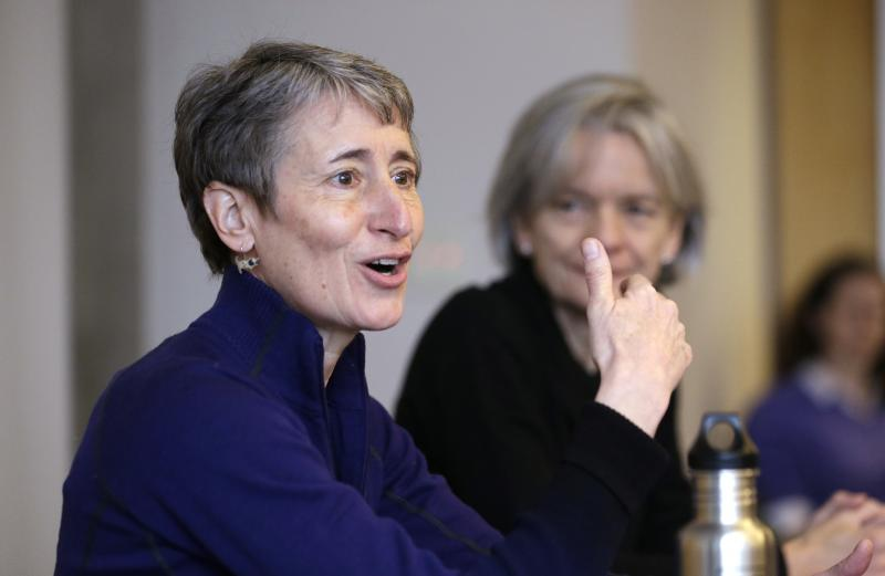 U.S. Interior Secretary Sally Jewell leads a roundtable discussion at the University of Washington's College of the Environment, Tuesday, Feb. 4, 2014, in Seattle.