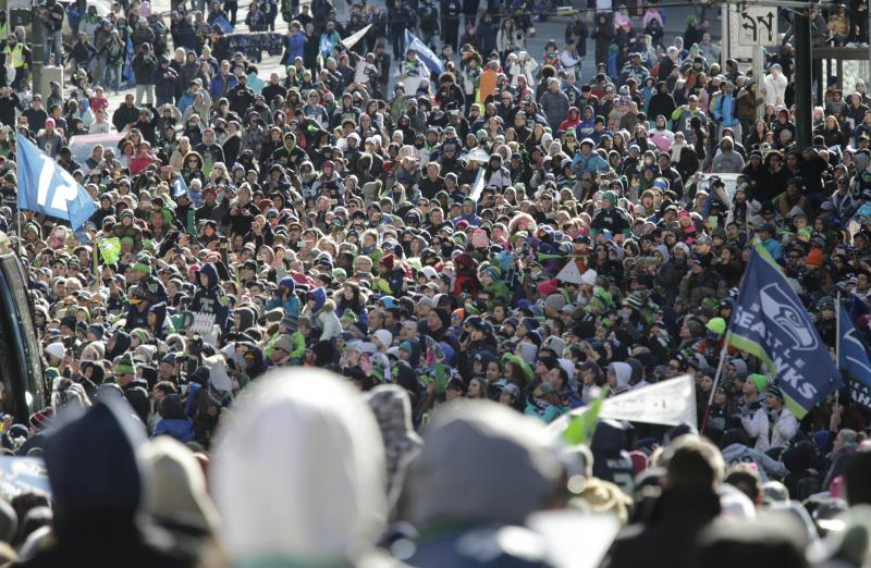 Among the 700,000+ fans who lined the route of the Seahawks Super Bowl Victory Parade.