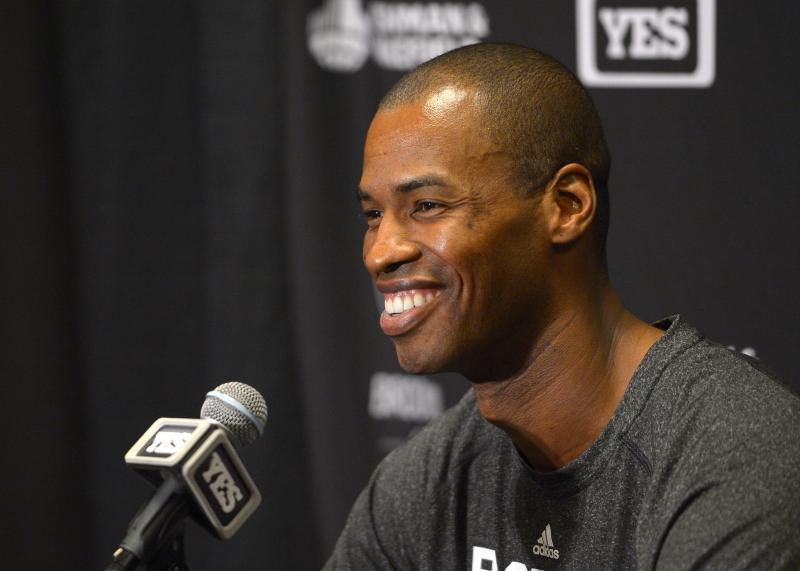 Brooklyn Nets center Jason Collins speaks during a news conference prior to an NBA basketball game against the Los Angeles Lakers, Sunday, Feb. 23, 2014, in Los Angeles.