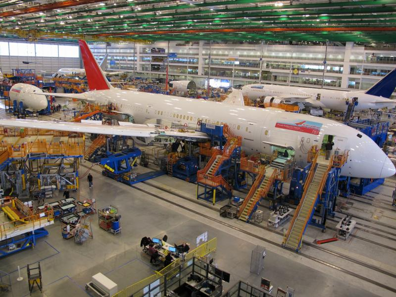 Workers assemble Boeing 787 Dreamliners in the company's massive assembly plant in North Charleston, S.C., on Thursday, Dec. 19, 2013.