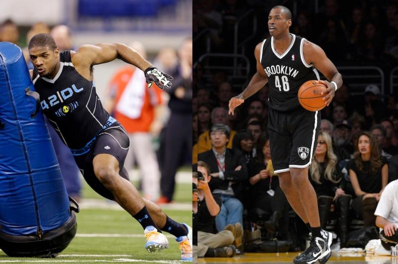 The photos show Missouri defensive lineman Michael Sam, left, and Brooklyn Nets center Jason Collins.