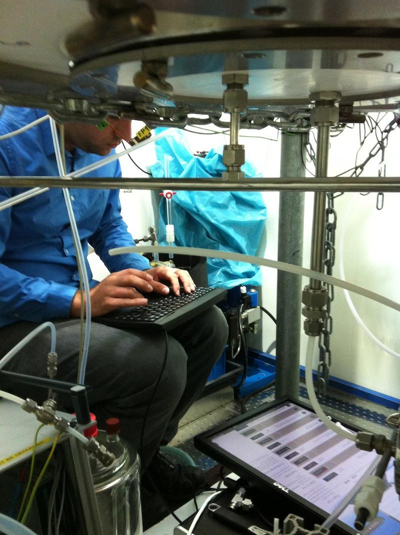 Felipe Lopez Hilfiker is seen working on UW's instrument at Juelich Plant Atmosphere Chamber Facility.