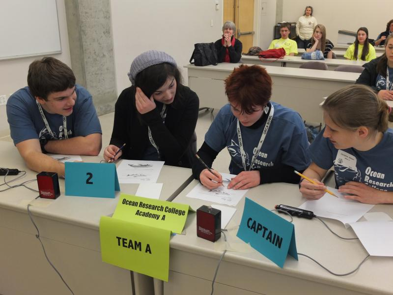 Everett Community College's ORCA Team A during a challenge question round at the 2013 Orca Bowl Competition.