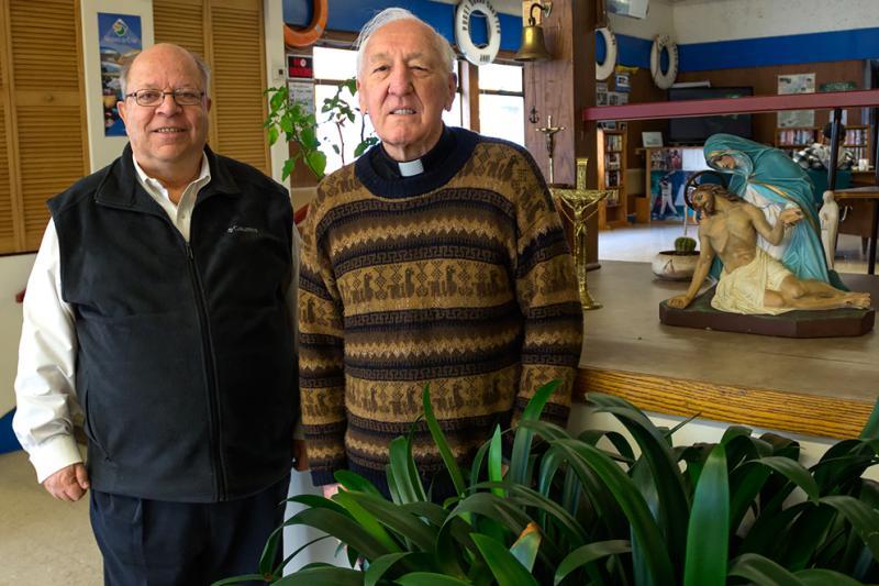 Deacon Michael Riggio and Father Tony Haycock of the Catholic Seafarers' Center.