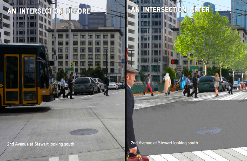 Intersections would be made more pedestrian-friendly with raised crosswalks