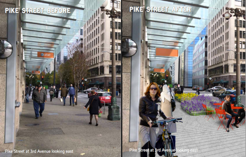 Low gardens would be added to east-west streets, replacing trees that block water views