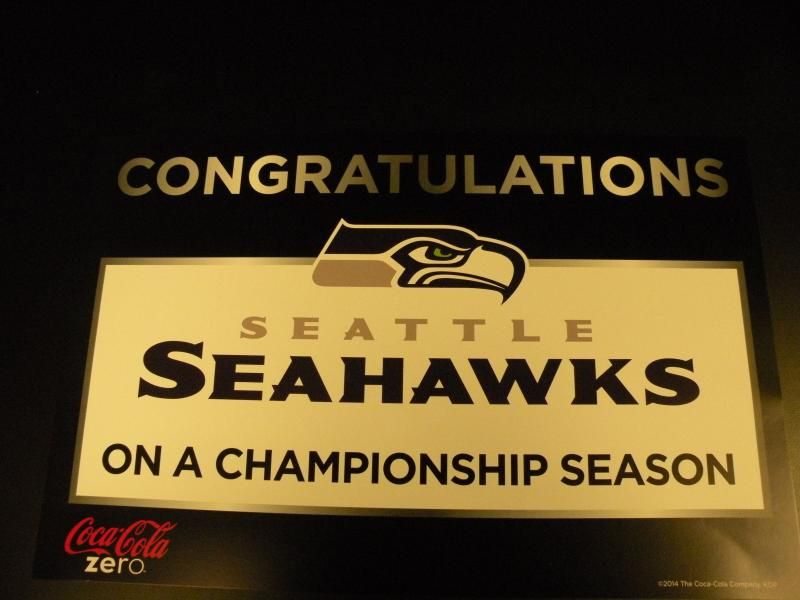Window sign for 2014 Seattle Seahawks Super Bowl victory parade